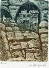 Ancient Castle, Original Print Ex libris Etching by Herbert Kisza Czech Republic
