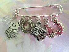 FORTUNE TELLER PSYCHIC  Silver Tone Kilt Pin Brooch Astrology Gypsy Caravan Palm