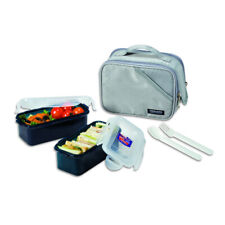 2pc Lock & Lock 510ml Lunch Box Food Storage Container Set w/Insulated Bag Olive