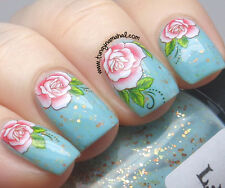 One Stroke Pink Roses Flowers Water Transfers Nail Art Sticker Decals Decoration
