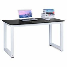 Home Office Workstation Computer Desk Black Wood PC Laptop Table Study Gaming