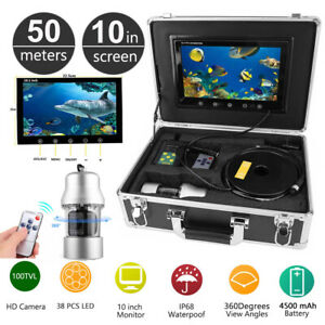 "10""Inch 50M Underwater Fishing Video Camera Fish Finder IP68 Waterproof 38 LEDs"