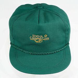 Edina Country Club Golf Hat OSFA green Vtg leather strapback Minnesota MN md USA