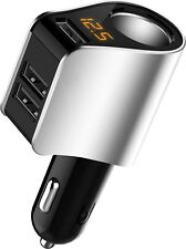 LED Display Car Cigarette Lighter Socket Splitter 3 Ports USB Charger Adapter