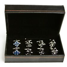 Fleur-de-lys Fleur De Lis Assorted 4 Pairs Cufflinks Wedding Fancy Gift Box