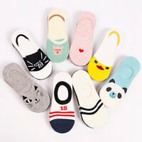 5 Pairs Invisible No Show Nonslip Loafer Boat Low Cut Liner Women Cotton Socks