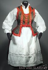POLISH FOLK COSTUME Kurpie complete ethnic dress blouse skirt vest apron POLAND
