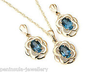 9ct Gold London Blue Topaz Celtic Pendant Necklace and Earring Set Gift Boxed