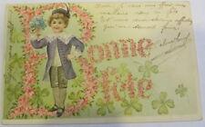 Cartolina d'epoca in rilievo Bambini  - postcard - tarjeta - 1906 - Buon Anno