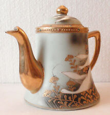 """1- NIPPON   POT  """"White Geese/Swan/Birds"""" Hand Painted Japan"""