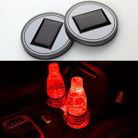 2x Car SUV Solar Cup Holder Bottom Pad Red LED Light Cover Trim Atmosphere Lamp