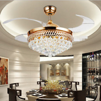 """42"""" Crystal Invisible Ceiling Fan Chandelier w/ 3-Color Dimming LED Light Remote"""