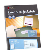 MACO Laser/Ink Jet White Shipping Labels, 5-1/2 x 4-1/4 Inches, 4 Per Sheet, 400