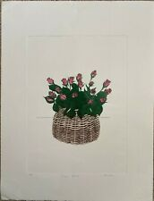 Pink Roses by Kellman - Hand Colored Etching