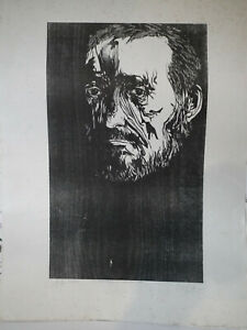 1962 Woodcut Eakins Signed Baskin with inscripton dated 1984