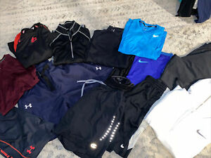 Lot of 14 mens sz medium athletic wear. under Armour, Nike, REI