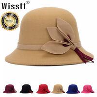 Cute Fashion Vintage Ladies Women 100% Wool Bucket Hats Cloche Derby Bowler Cap