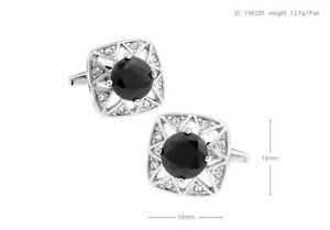 Mens Shirt Fashion Gemstone Black Agate Brass Cufflinks (C01_1)