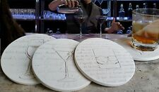 Clay Drink Coasters, COCKTAIL Absorbent Drink Coasters Set of 4