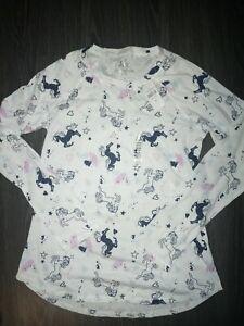Girls justice long sleeve tee size 14/16 white Unicorn graphics