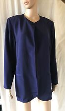 NEXT, SIZE 14, EUR 42, BLUE COLLARLESS LONG SLEEVE JACKET/BLAZER, PRE-LOVED