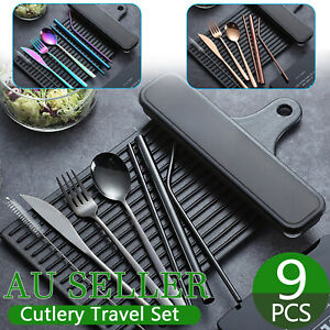 9pcs Premium Cutlery Travel (Portable) Set Stainless Steel (Knife, Fork, Spoon)