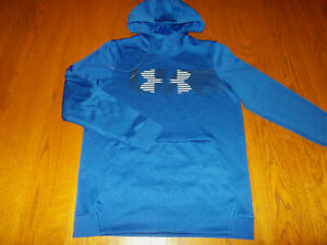 UNDER ARMOUR COLD GEAR BLUE HOODED SWEATSHIRT MENS SMALL EXCELLENT CONDITION