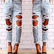 2017 NUEVO De Moda Vaqueros Mujer Distressed Pantalones Denim Ceñido Largo Plus