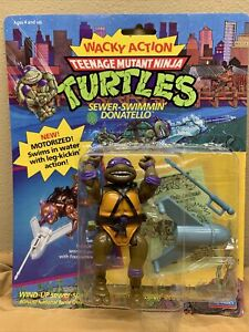 VINTAGE TMNT_Wacky Action_Sewer-Swimmin Donatello_Motorized_NIB_1989