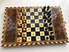 Beautiful Marquetry Travelling Wood Chess Set