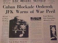 VINTAGE NEWSPAPER HEADLINE ~PRESIDENT KENNEDY JFK CUBAN WAR MISSLE BLOCKADE 1962