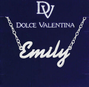 925 Sterling Silver EMILY Name Necklace Womens Girls Pendant Gift Ready Stock