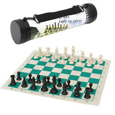 Portable Folding Chess Set Roll Up Board Plastic Pieces Puzzle Game Gift 35x35cm