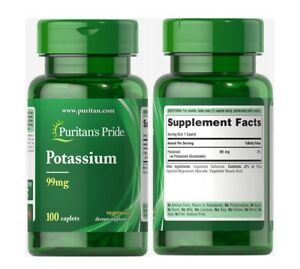 Puritan's Pride POTASSIUM 99mg Essential For Overall Well Being X100 Caplets