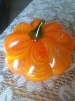 Vintage BLOWN GLASS PUMPKIN Orange, yellow Halloween Thanksgiving Decor