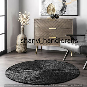 Round Braided Rag Rug Floor Rug Handmade Jute Rug Black Colour 5 Feet Carpet Mat