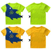 Kids Boys Cotton T-Shirt Kids Shark Printed Tops Summer Casual Party Cute Cloth