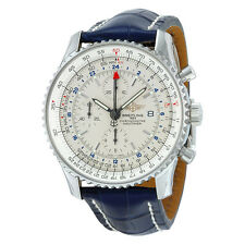 Breitling Navitimer World Chronograph Automatic Silver Dial Blue Leather Mens