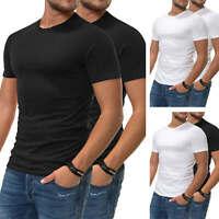 Jack & Jones Herren Basic T-Shirt im 2er Pack Kurzarmshirt O-Neck Color Mix SALE