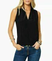 Ramy Brook Robi Women's Sleeveless V-Neck Stretch Silk Blouse Top Black Size XS