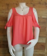 Womens Cold Shoulder Pink Blouse Size Large Lace Trim Sheer Tied Sleeves