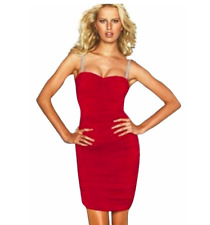 Moda International Size Medium Red Bodycon Rhinestone Straps Cocktail Dress