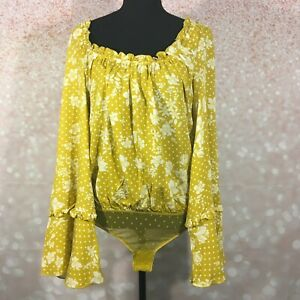Free People Intimately Womens Marigold Combo Ruffled Floral Bodysuit Size Small