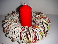 Kerzenhalter Kranz aus Papierröllchen Schleife Handarbeit bunt e