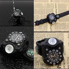 Military Tactical Rechargeable LED Sport Wrist Watch Flashlight Compass Light US