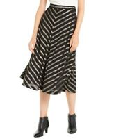 Alfani Women's 18 Plus Size Pleated Metallic-Stripe Midi Skirt, Black, $90, NwT