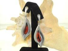 Solid 925 Silver Genuine Baltic Sea Swirled Cognac Amber Pendant Earrings Set #6