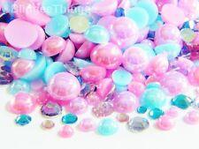 2000 Mixed Pink Purple Aqua AB Flatback Half Round Faux Pearls Resin Rhinestones