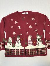 Croft And Barrow Petite Women's Christmas Sweater Maroon Size:PM Ugly Christmas