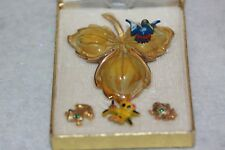 Convertible by Beau Jewels Vintage Brooch Pin Leaf Bird Frog Ladybug Butterfly